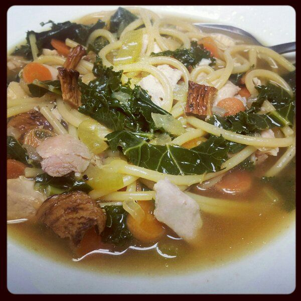 Roasted chicken, tuscan kale, chanterelles, and noodles #soup