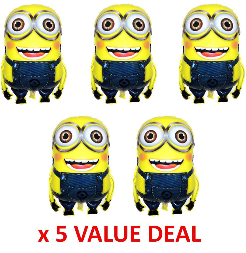 At 40 Party Decorations 5x Despicable Me Minions Dave Foil Balloon Party Supplies