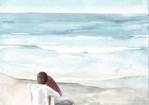 Original Watercolor Art Couple On Beach Painting By Helgamcl