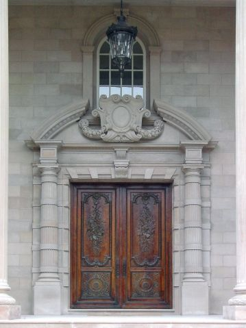 Indiana Limestone Entry Of Beaux Arts Mansion Antique Ten Foot Tall Doors Are Reclaimed From A French With Images Architecture Prairie Style Architecture Beautiful Doors