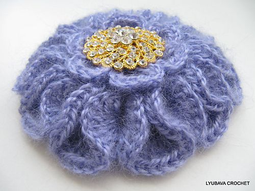 Mohair Brooch Unique Large Flower 3d Tutorial Pattern By Lyubava