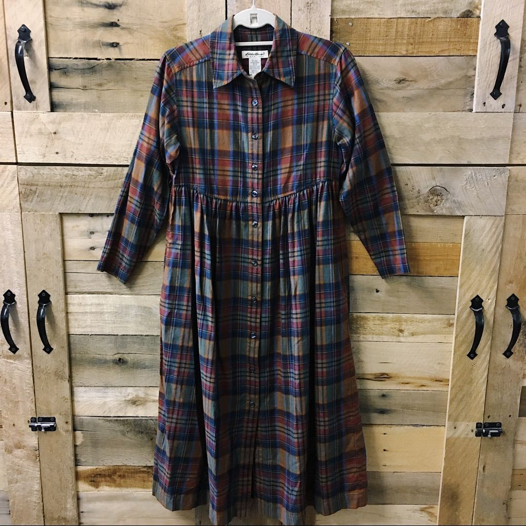 Flannel with shirt underneath  Eddie Bauer Long Sleeve Flannel Dress  Flannel dress and Products