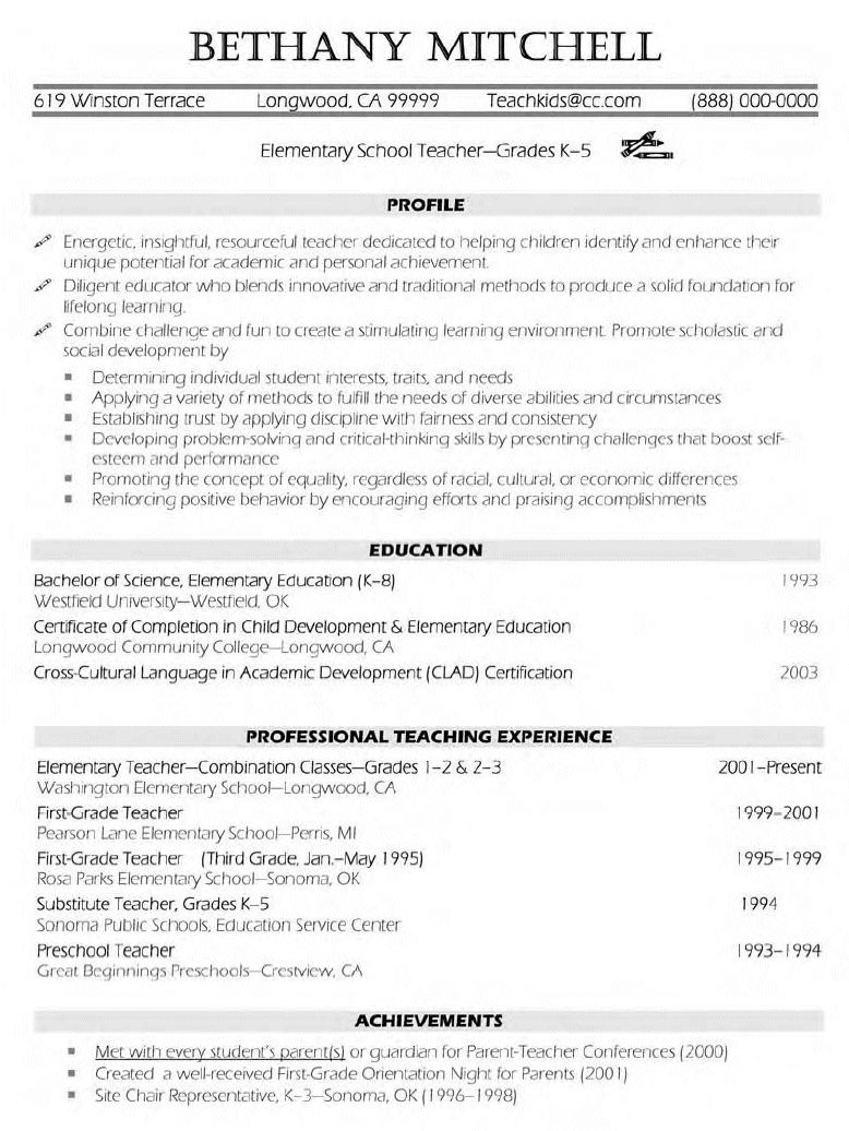 Elementary Teacher Resume Sample Resume On Pinterest Teacher