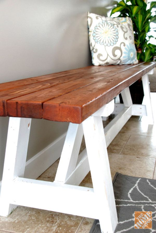 Add extra seating in your kitchen with this DIY Farmhouse Bench. See the full tutorial on The Home Depot Blog.