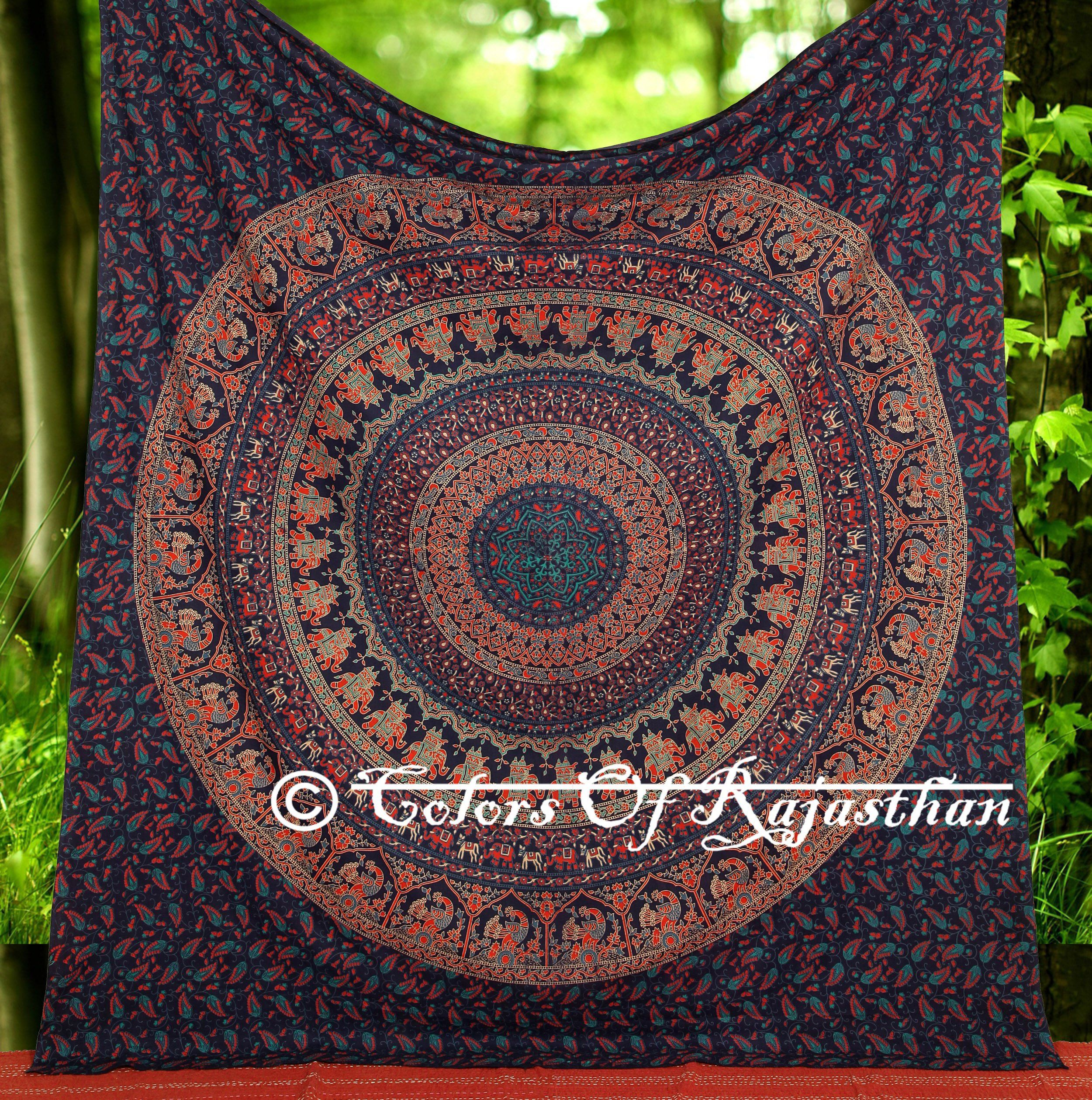 Amazoncom Multi colored Elephant Mandala Tapestry Indian