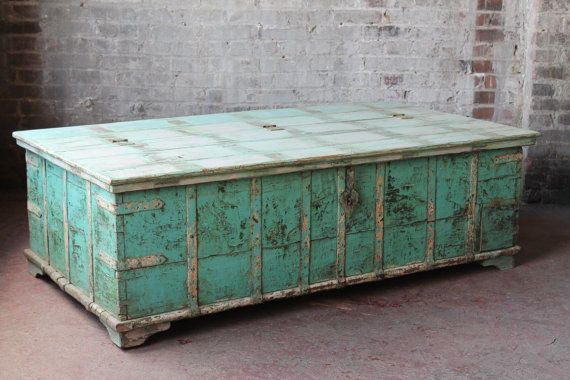 Reclaimed Salvaged Coffee Table Antique Indian Pitara Trunk Table Wood And  Iron Seafoam Green And Cream Wedding Trunk Storage Chest