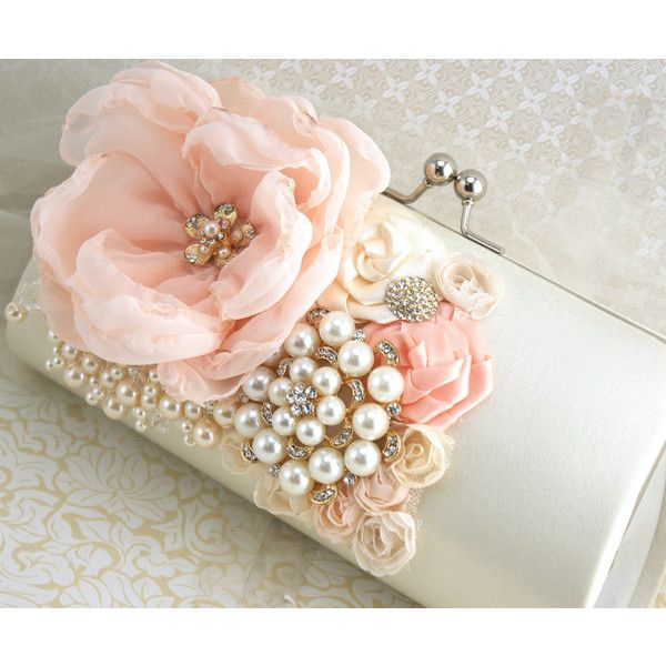 Clutch Peach Coral Ivory Cream Gold Handbag Purse Bridal Wedding Maid... ($130) ❤ liked on Polyvore featuring bags, handbags, clutches, backgrounds, flower purse, bridal clutches, ivory purse, flower handbag and hand bags