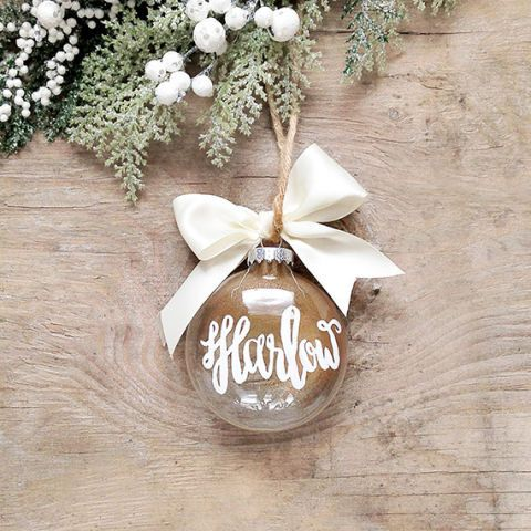 15 Personalized Holiday Ornaments To Make Your Friends And Family Feel Special Personalized Christmas Ornaments Holiday Calligraphy Christmas Ornaments