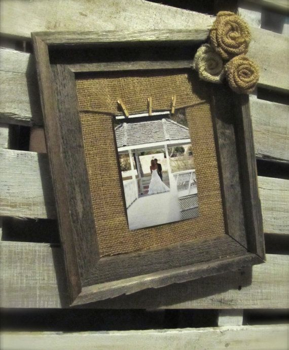 Burlap Frame Rustic Wood Frame With Twine Hanger And Burlap