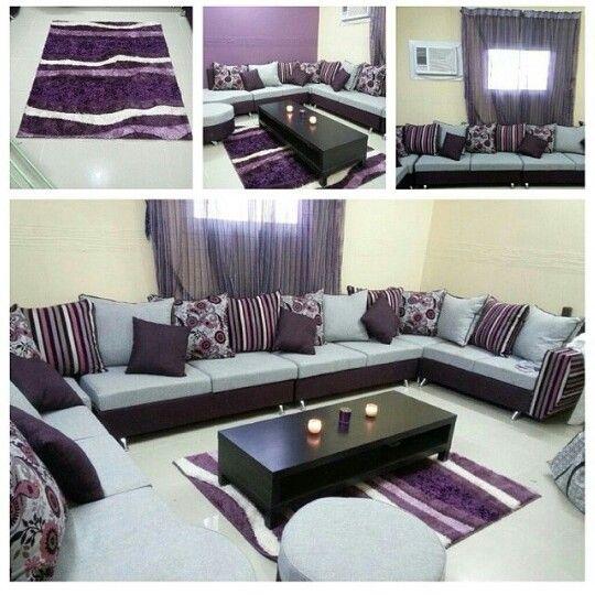 مجلس حريم يجنن بنفسجي ورمادي Home Decor Home Sectional Couch