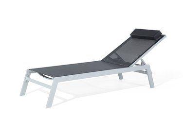 Transat de jardin - Chaise longue inclinable - aluminium noir ...