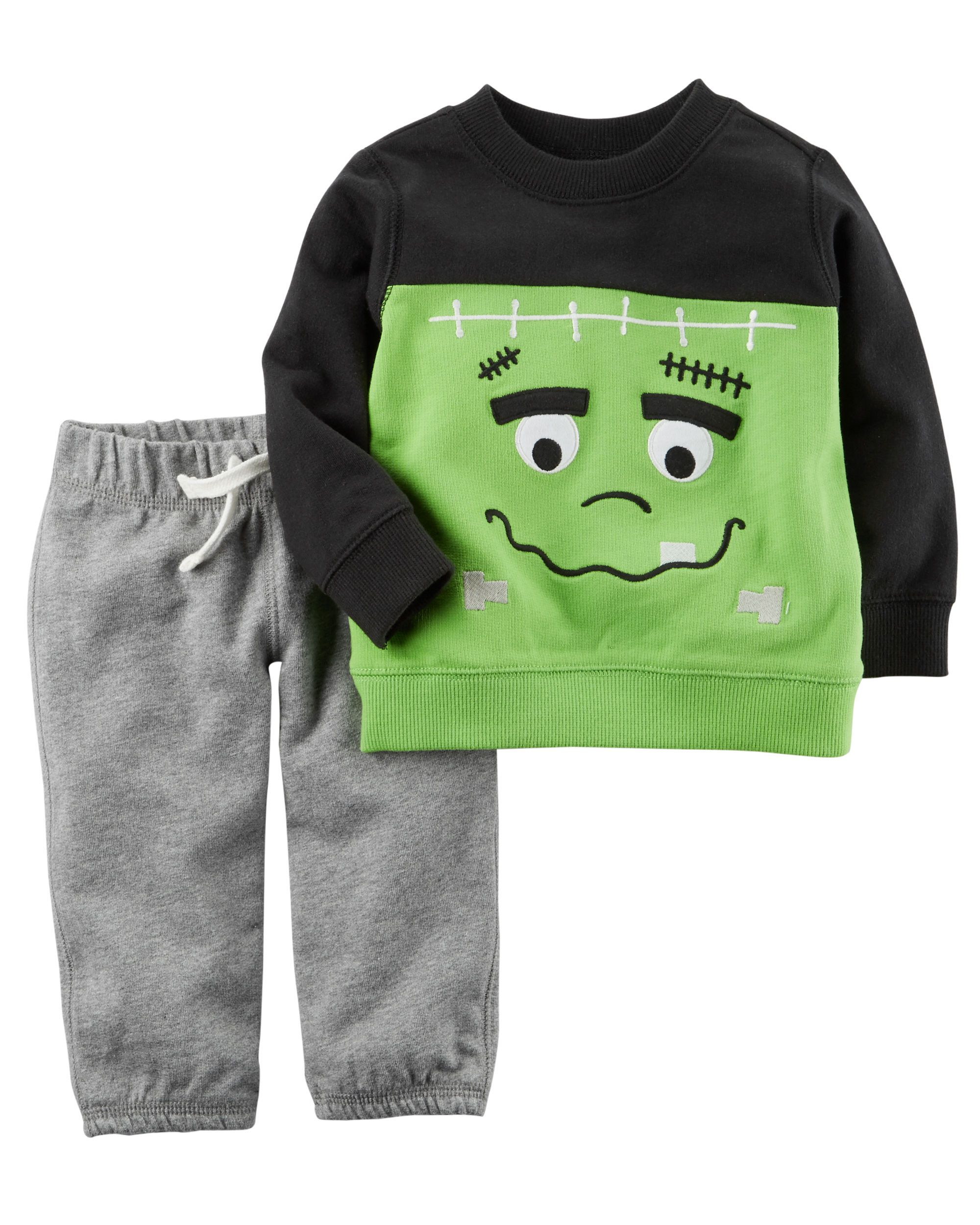 2 Piece French Terry Halloween Top & Pant Set