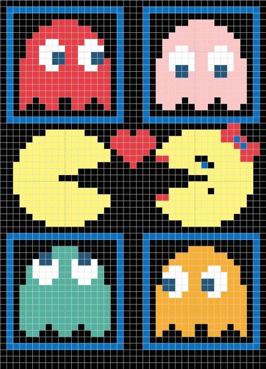 Pac Man Pillow Chart | Retro | Pinterest | Punto de cruz, Puntos y ...