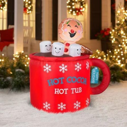 46 inflatable gingerbread man in cocoa hot tub christmas decoration decor in home - Inflatable Gingerbread Man Christmas Decor