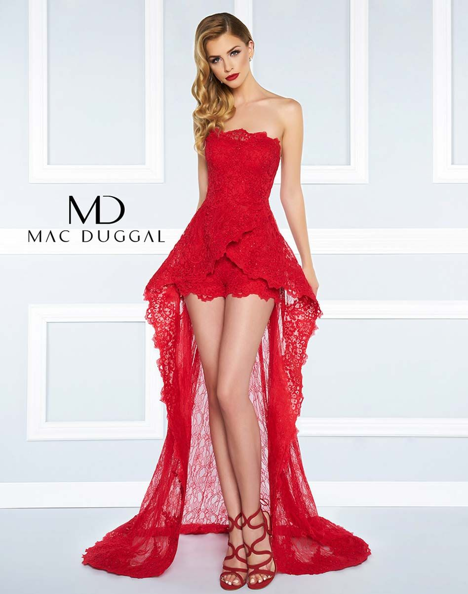 Strapless, lace romper, with sheer lace overskirt.   Black White Red ...