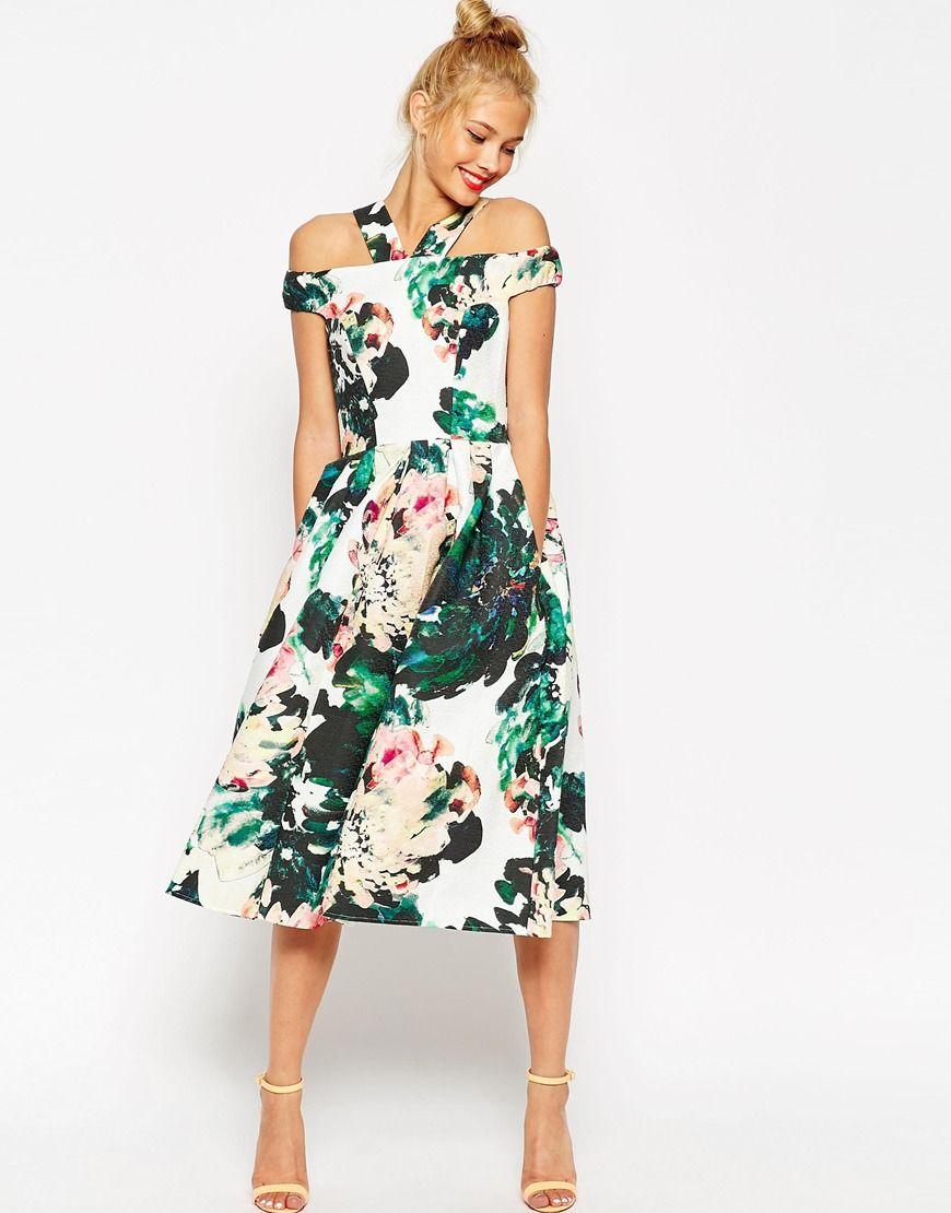 Vestido de graduación a media pierna con estampado floral grande y ...