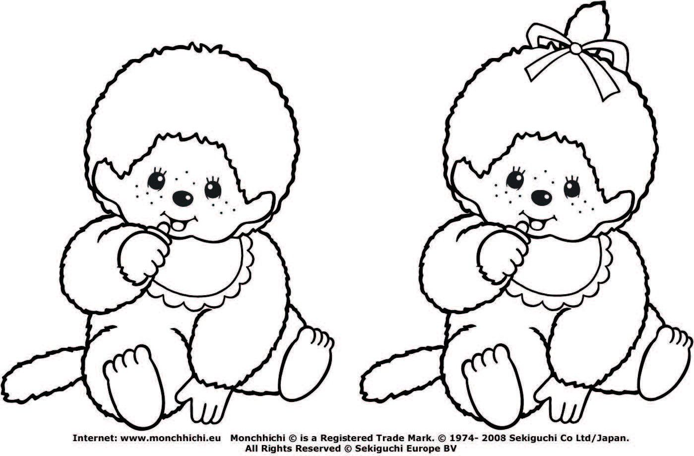 monchhichi2.jpg (1399×919) | coloring 6 | Pinterest | Template