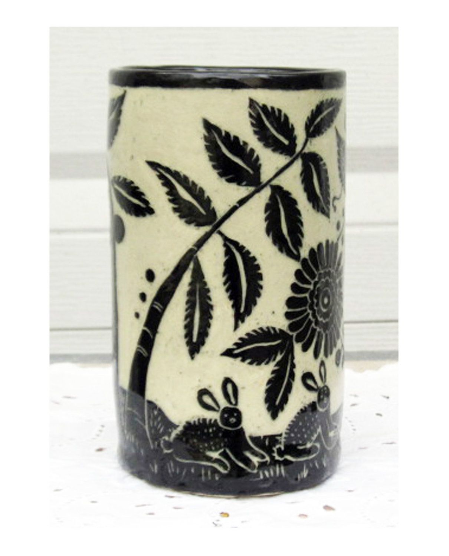 Handmade pottery vase black white sgraffito carving of bunnies handmade pottery vase black white sgraffito carving of bunnies and trees via etsy reviewsmspy
