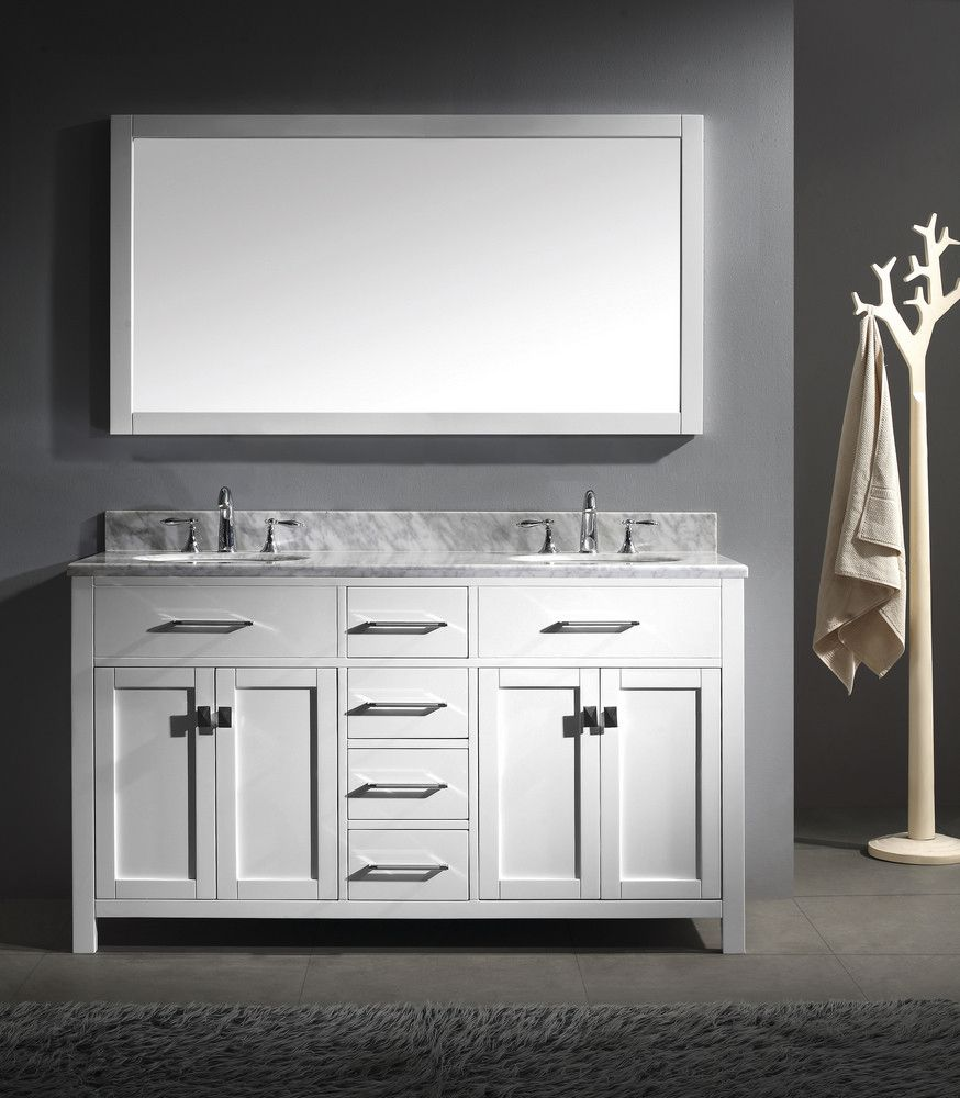 Photo Image Virtu USA Caroline Double Basin Vanity in White with Marble Vanity Top in Italian Carrera and Mirror offers a contemporary look to your bathroom