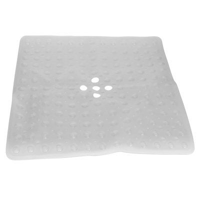 Evelots Evelots Square Shower Mat Large Drain Hole Non Slip Super