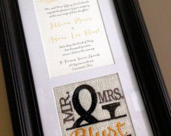 items similar to custom monogrammed framed wedding invitation