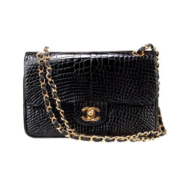 9ea1c50660f8 ending our Chanel runway with a true Chanel alligator medium flap bag  excellent vintage condition measures 9 x 6 x 2