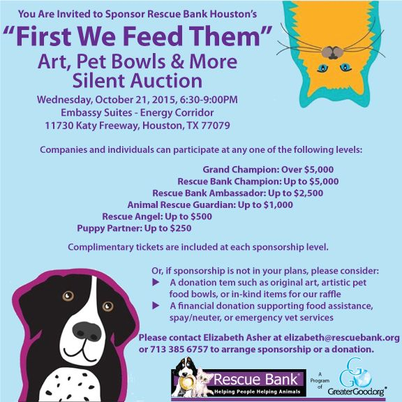 First We Feed Them Sponsorship Feeding Pet Bowls Silent Auction