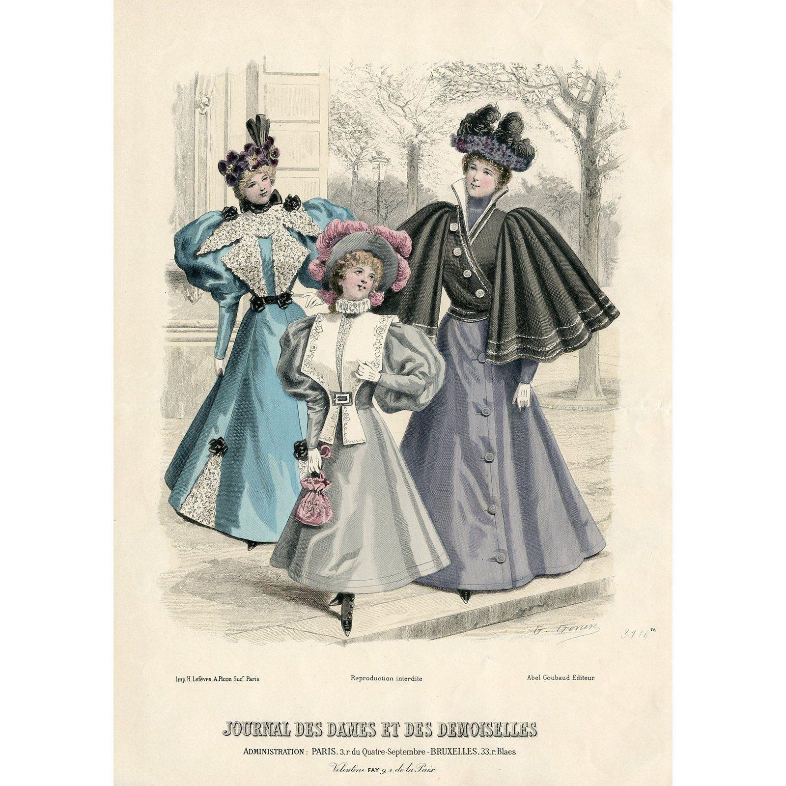 Vintage French Fashion Print 1888 In 2020 French Fashion Fashion Prints Edgy Fashion Grunge