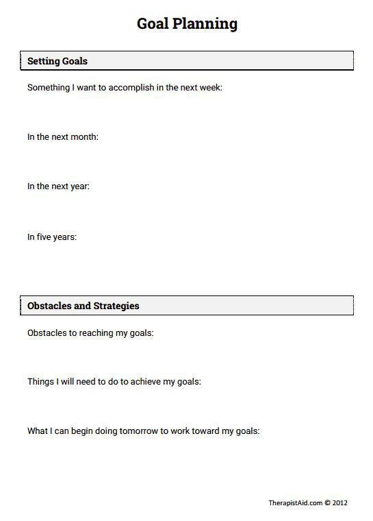 Stress management Goal Planning Worksheet – Grief Therapy Worksheets