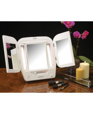 The Jerdon Jgl10w Tabletop Tri Fold Two Sided Lighted Makeup