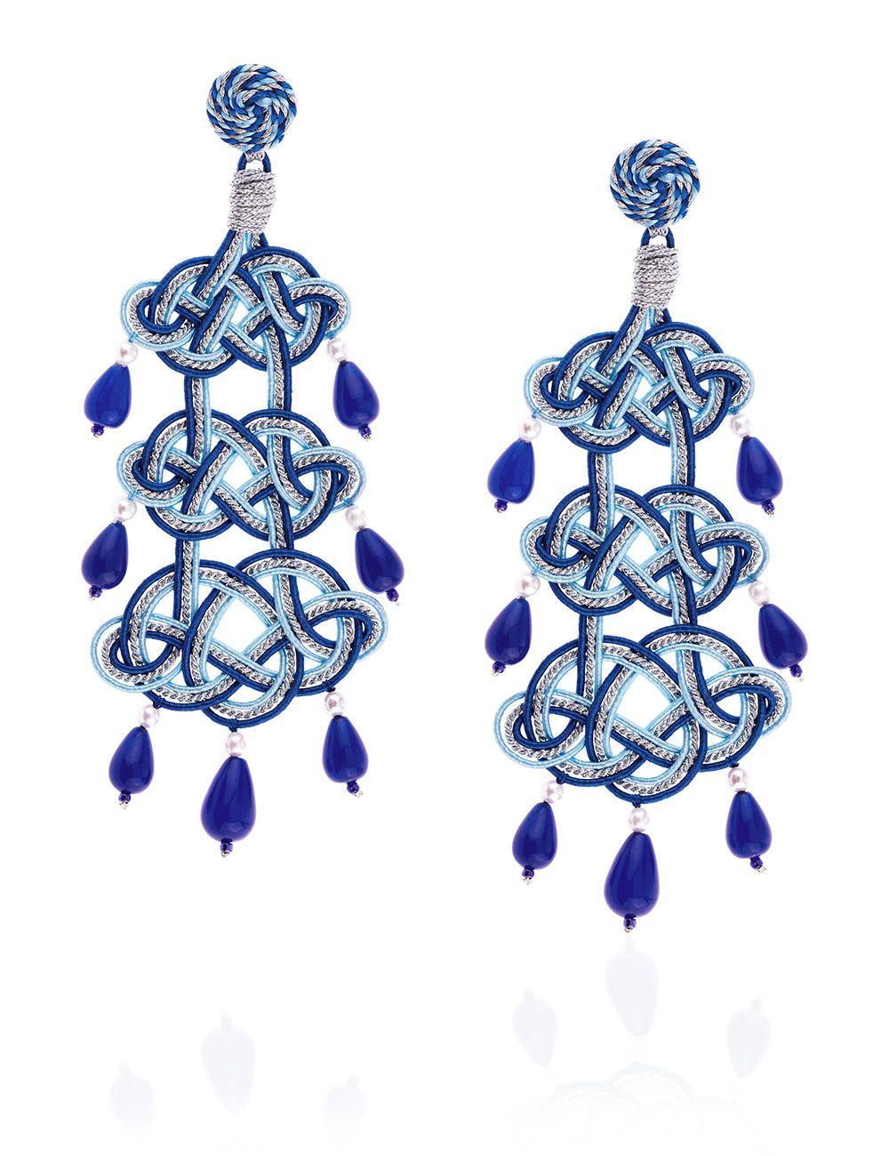 Blue Passementerie Chandelier Earrings