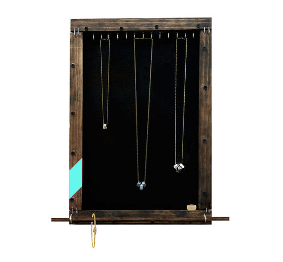 This large ecofriendly handmade reclaimed wood jewelry organizer