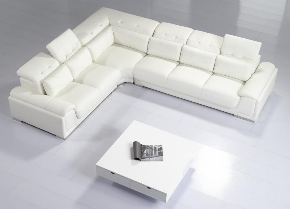Canon Modern White Leather Sectional Sofa Koltuklar Ev