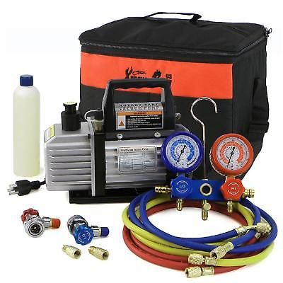 Air Conditioning Refrigeration Repair Tool Kit 3cfm 1 4hp Air Vacuum Pump Gauge Vacuum Pump Hvac Vacuums