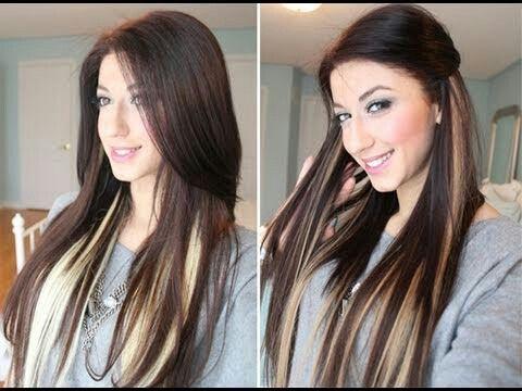 I want my hair like this hair blondestwo toneshighlights dark brown hair with blonde peekaboo highlights underneath pmusecretfo Gallery