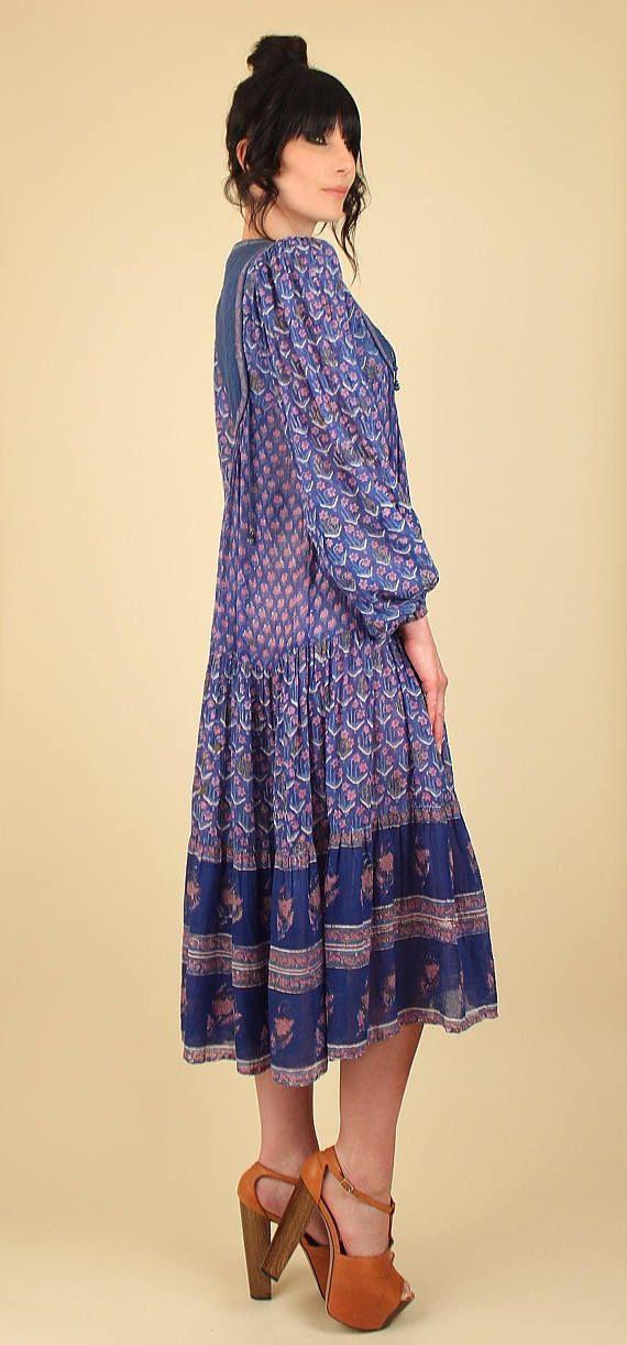 Vestido indio viNtAgE gasa algodón / / 70 rara vestido bohemio ...