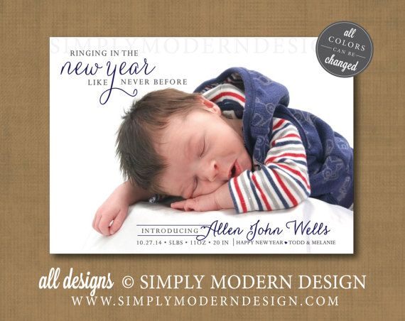 new year birth announcement holiday birth announcement new baby – New Baby Announcement Ideas