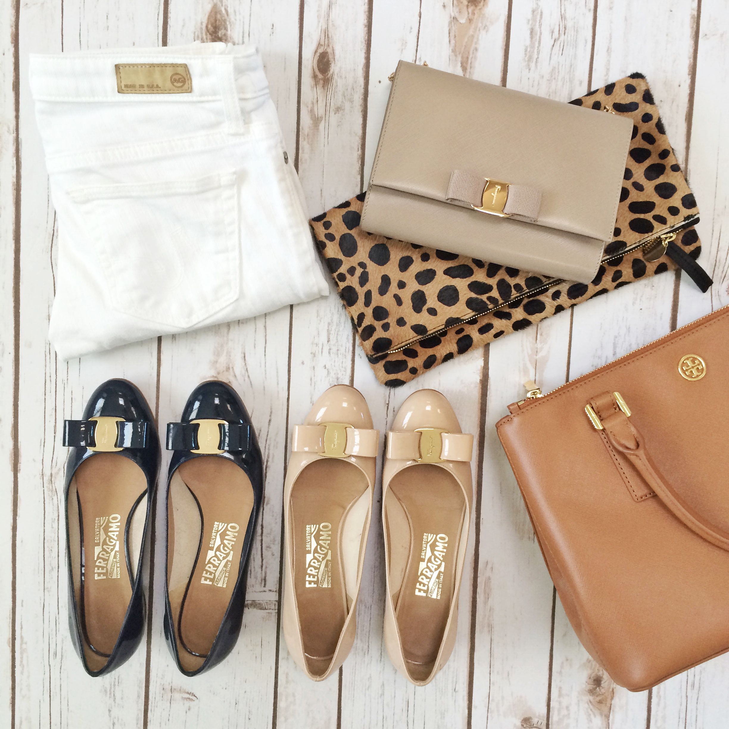 Ferragamo Vara bow pumps, Ferragamo miss vara cross body, AG cigarette stilt roll up white jeans, Tory Burch mini Robinson double zip tote, Clare V leopard foldover leaopard clutch ALL ON SALE! // http://www.stylishpetite.com/2015/03/sale-alert-shopbop-big-event-sale.html