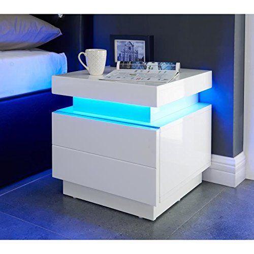 Table De Chevet Amazon table de chevet blanche brillante avec un éclairage au led bleu cyan