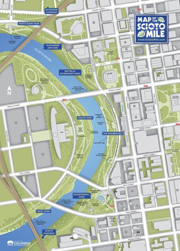 Scioto Mile Map Map Riverfront Columbus