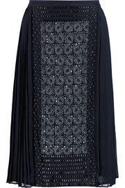 Tory BurchIvy embellished silk-chiffon skirt