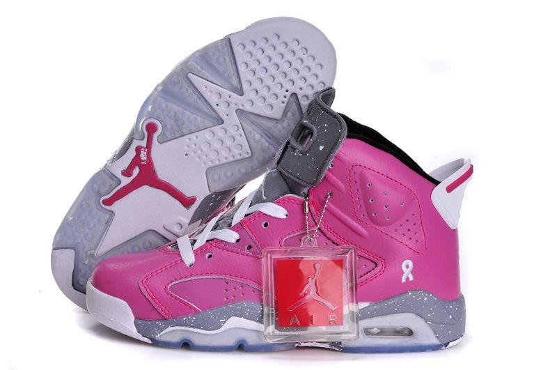 pretty nice 2ca0f 3d352 Girls Michael Air Jordan 6 GS Breast Cancer New Style Womens