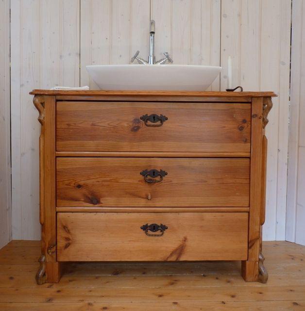 Badunterschränke - Waschtisch Antik, Unterschrank Vintage Shabby ... | {Waschtischplatte mit unterschrank 82}