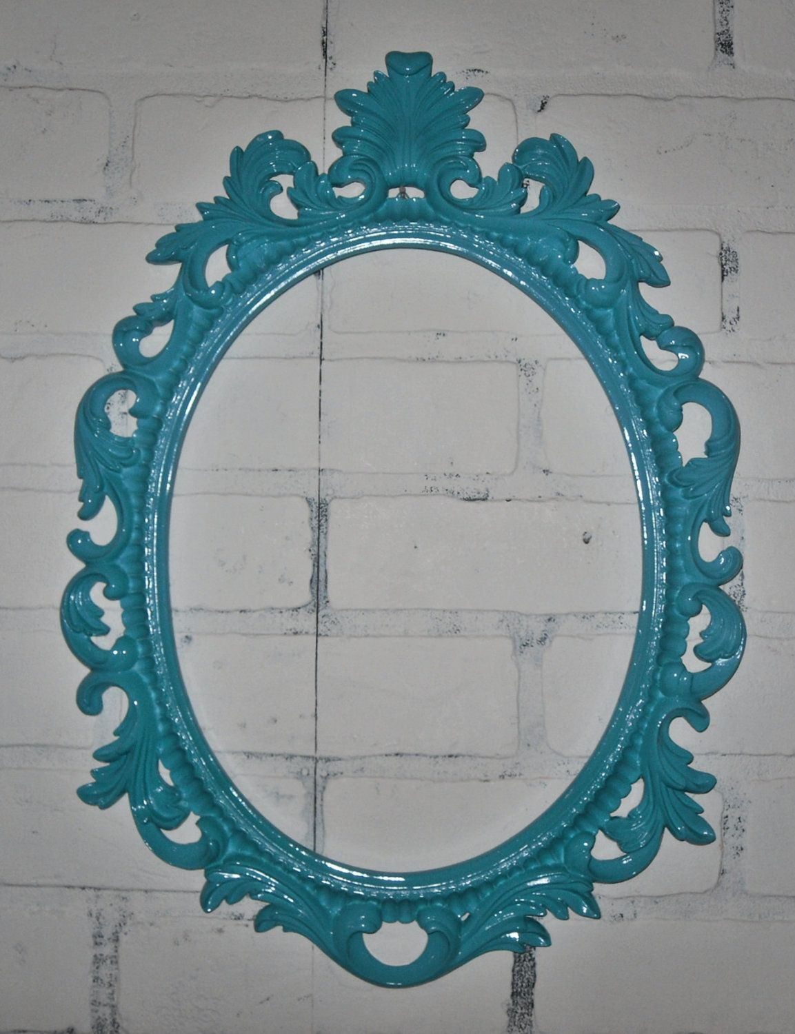 Ornate Baroque Frame / Hollywood Regency / Turquoise / Oval Frame ...