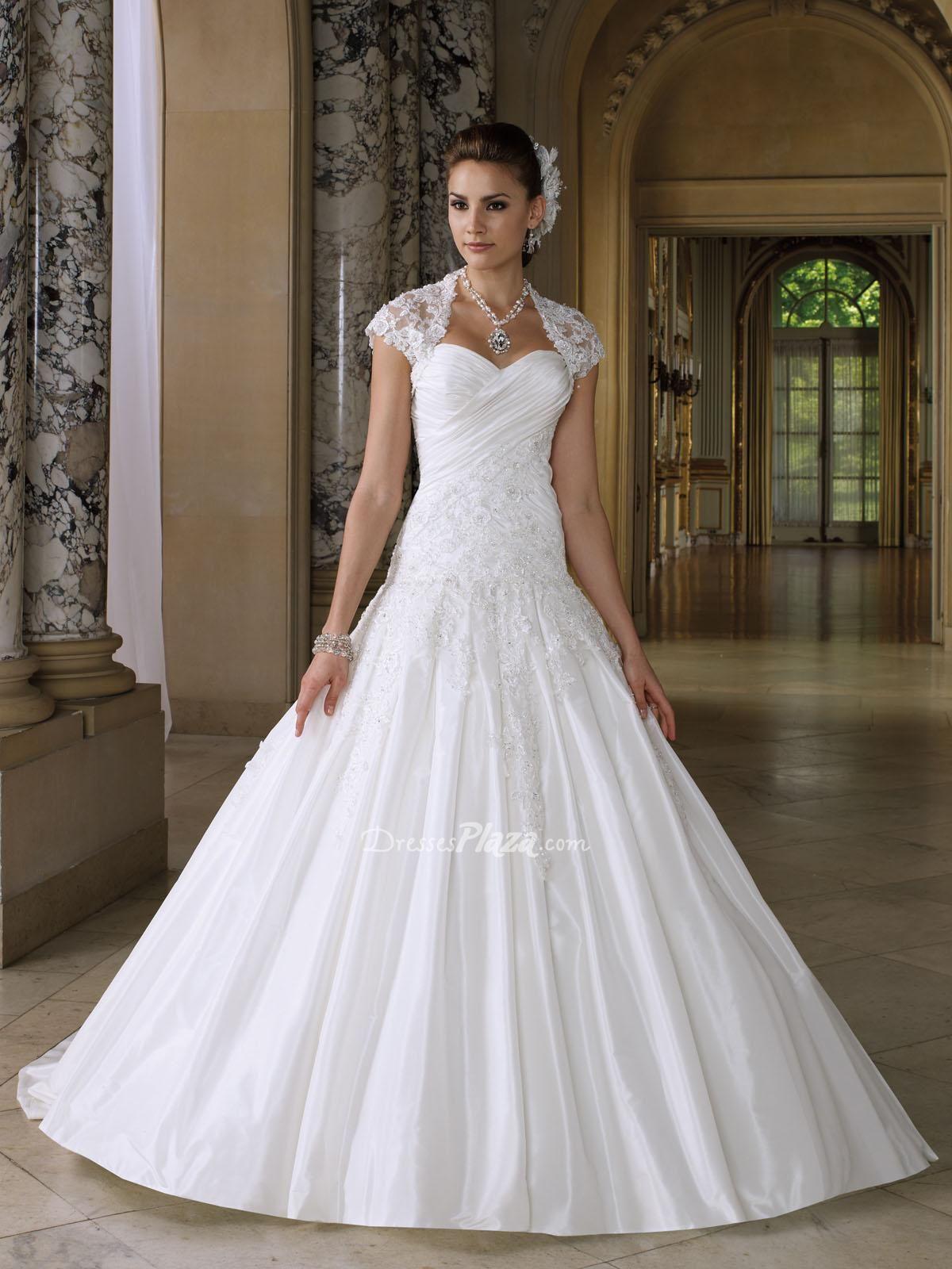 Dropped waist wedding dress  taffeta sweetheart strapless ball gown dropped waist wedding dress