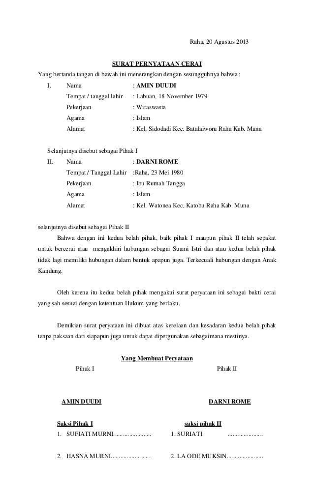 Contoh Surat Talak : contoh, surat, talak, Contoh, Surat, Pernyataan, Cerai, Terlengkap, ContohSuratmu.com, Perceraian,, Kata-kata, Indah,, Tanda