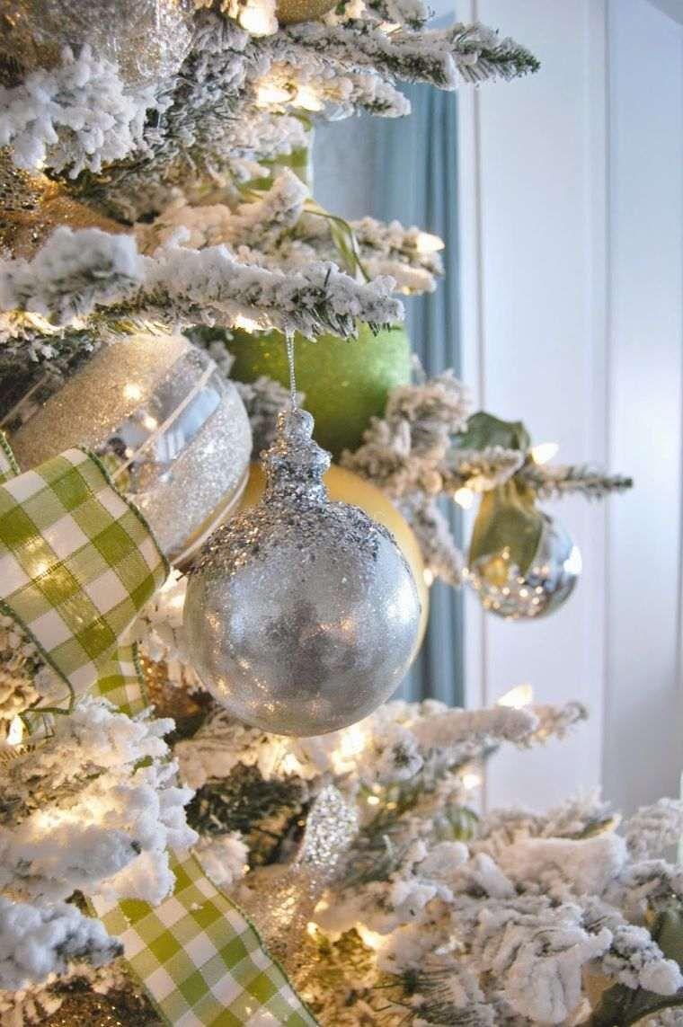 arbol de navidad decoracion lazo bolas plata ideas
