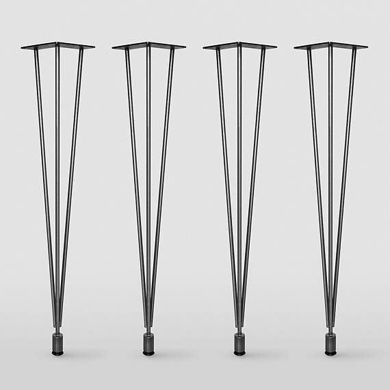 Original Leg Set Of 4 Legs Raw Steel Original Hairpin Leg With Leveler Mid Century Modern Diy Metal Table Legs Metal Table Legs Raw Steel Metal Desk Legs