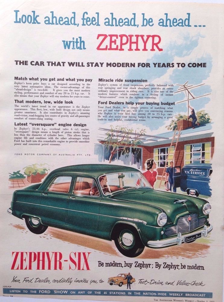 Ford Zephyr Six Car Ad 1955 Original Vintage Australian
