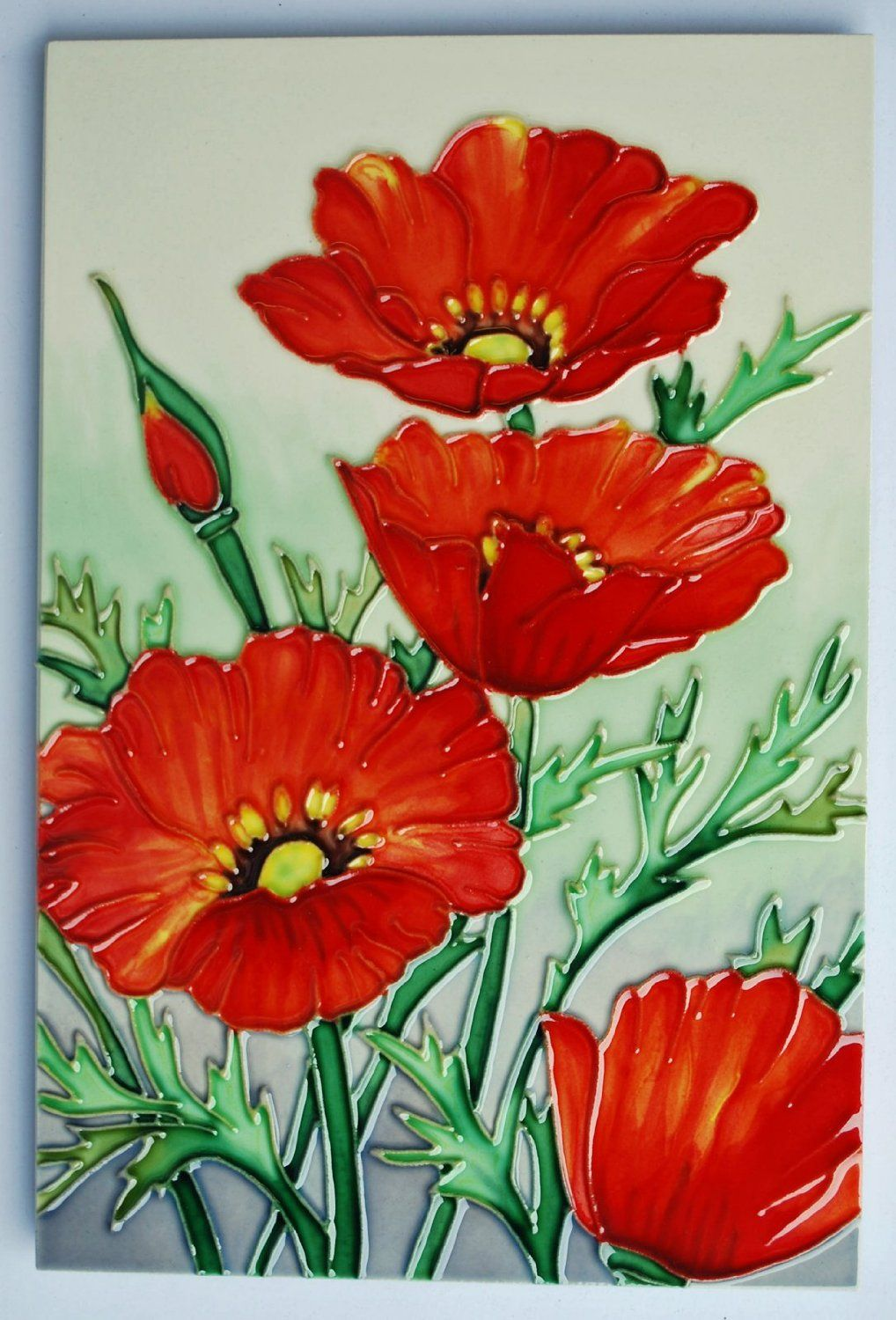 Red Poppies Hand Crafted Ceramic Wall Art 603 Amazon Co Uk Kitchen Home Ceramic Wall Art Red Poppies Art Gift
